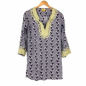 Roberta Roller Rabbit Embroidered Top Blue White S